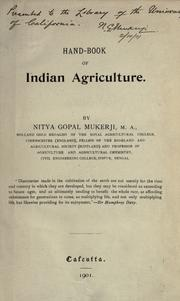 Hand-book of Indian Agriculture by Nitya Gopal Mukerji