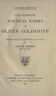 Cover of: The complete poetical works of Oliver Goldsmith by Goldsmith, Oliver