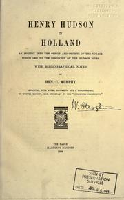 Henry Hudson in Holland by Murphy, Henry Cruse