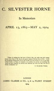 Cover of: C. Silvester Horne, in memoriam by