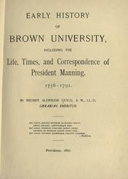 Cover of: Early history of Brown University by Reuben Aldridge Guild