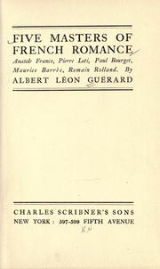Five masters of French romance by Albert Léon Guérard