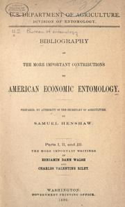 Bibliography of the more important contributions to American economic entomology by United States. Bureau of Entomology.