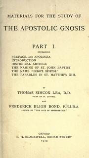 Materials for the study of the apostolic gnosis