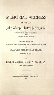 Cover of: Memorial address on the late John Whipple Potter Jenks by Reuben Aldridge Guild