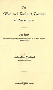 Cover of: The office and duties of coroners in Pennsylvania by Graham Cox Woodward