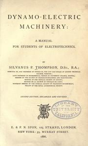 Dynamo-electric machinery by Thompson, Silvanus Phillips