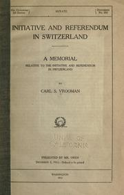 Initiative and referendum in Switzerland by Carl Schurz Vrooman