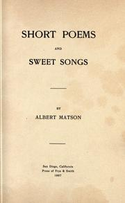 Short poems and sweet songs PDF