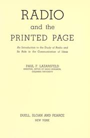 Radio and the printed page by Paul Felix Lazarsfeld