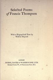 Cover of: Selected poems of Francis Thompson by Thompson, Francis