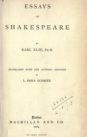 Essays on Shakespeare by Elze, Karl