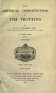 The chemical constitution of the proteins by Robert Henry Aders Plimmer