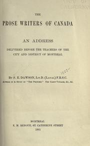The prose writers of Canada by Samuel Edward Dawson