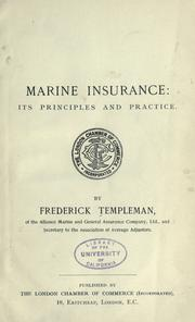 Marine insurance by Frederick Templeman