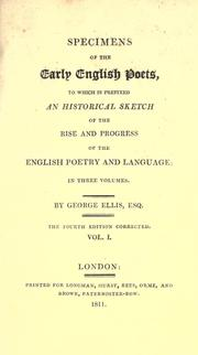 Specimens of the early English poets by Ellis, George