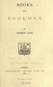 Cover of: Books and bookmen by Andrew Lang