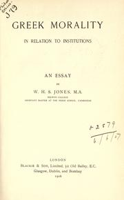 Greek Morality In Relation To Institutions PDF
