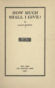 How much shall I give? PDF