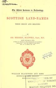 Scottish land-names by Maxwell, Herbert Sir.