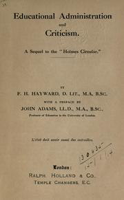 Educational administration and criticism by Hayward, Frank Herbert