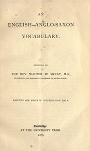 An English-Anglo-Saxon vocabulary by Walter W. Skeat
