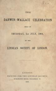The Darwin-Wallace celebration held on Thursday, 1st July, 1908 by Linnean Society of London