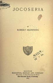 Jocoseria by Robert Browning
