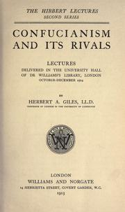 Confucianism and its rivals by Herbert Allen Giles