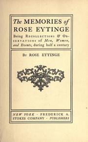 The memories of Rose Eytinge PDF
