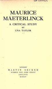 Maurice Maeterlinck by Una Taylor