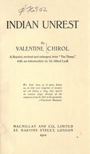 Indian unrest by Chirol, Valentine Sir