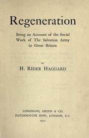 Regeneration by H. Rider Haggard