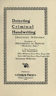Detecting criminal handwriting PDF