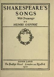 Shakespeare's songs by William Shakespeare