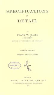 Specifications in detail by Frank W. Macey