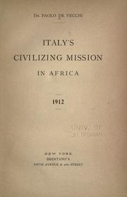 Italy's civilizing mission in Africa by Paolo De Vecchi