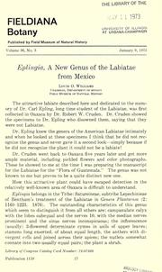 Eplingia, a new genus of the Labiatae from Mexico by Louis Otho Williams