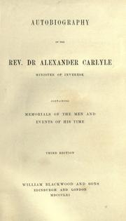 Cover of: Autobiography of the Rev. Dr Alexander Carlyle by Carlyle, Alexander