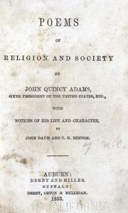 Poems of religion and society by Adams, John Quincy