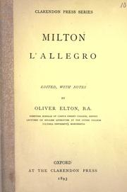 Cover of: L' allegro by John Milton