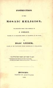 Instruction in the Mosaic religion by Joseph Johlson
