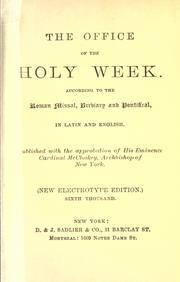 Cover of: The office of the Holy Week by Catholic Church
