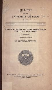 Cover of: Simple cooking of wholesome food for the farm home by Jessie Pinning Rich
