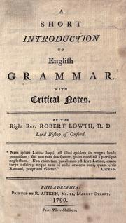 A short introduction to English grammar by Lowth, Robert