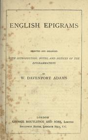English epigrams by William Davenport Adams