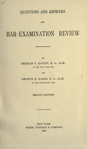Questions and answers for bar-examination review by Charles Sherman Haight