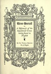 Hydriotaphia, urne-buriall by Thomas Browne