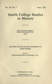 Cover of: Letters of Ann Gillam Storrow to Jared Sparks by Ann G. Storrow