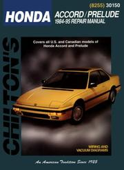 Chilton's Honda Accord and Prelude, 1984-95 repair manual by